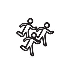 Running men sketch icon vector