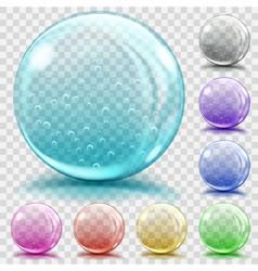 Set of transparent glass spheres vector