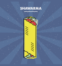 Shawarma sandwich grill meat restaurant menu vector