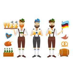 smiling bavarian man with red beard and moustache vector image vector image