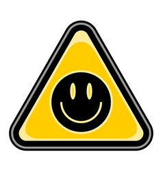 Smiling face sign triangular sticker vector
