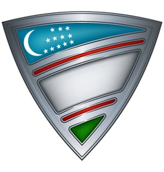 steel shield with flag uzbekistan vector image