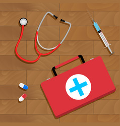 Tools of doctor on table vector