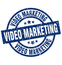 Video marketing blue round grunge stamp vector