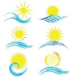 Watercolor summer icons 1101 vector