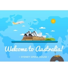 Welcome to australia poster with famous attraction vector