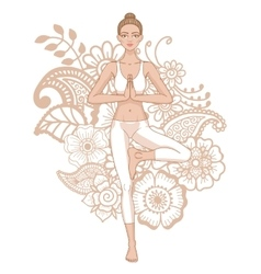 Women silhouette yoga tree pose vrikshasana vector