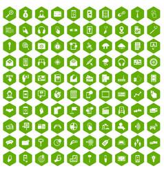 100 mobile icons hexagon green vector