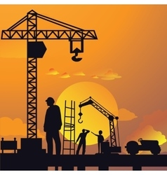 Silhouette of man working on construction site vector