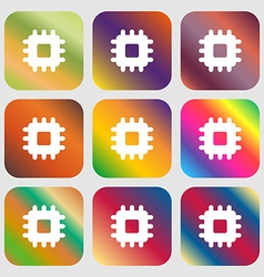 Central processing unit icon nine buttons with vector