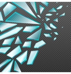 Window with transparent broken glass shards vector image