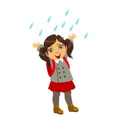 Girl in school uniform kid in autumn clothes in vector