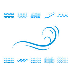 Sea wave blue icons or water liquid symbols vector