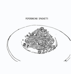 Peperoncino spaghetti hand drawn sketch water vector