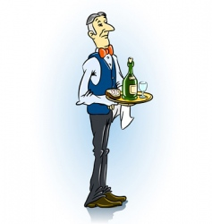 waiter in restaurant vector image
