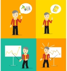 Set of cute cartoon young businessmen idea vector