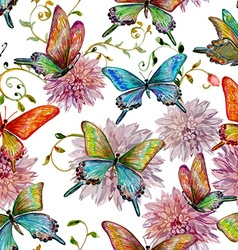 Retro seamless texture with of flying butterflies vector