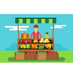Fruit and vegetables shop stall vector image