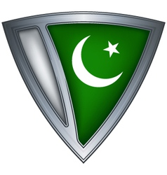Steel shield with flag pakistan vector
