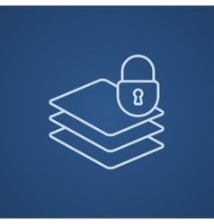 Stack of papers with lock line icon vector