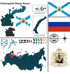 Map of Oblast of Arkhangelsk vector image