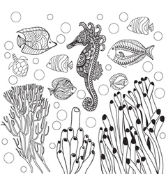 Underwater world sea life fishessea horse outline vector