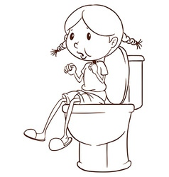 A plain sketch of a girl at the comfort room vector image vector image