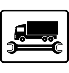 auto service icon with truck and spanner vector image vector image