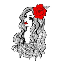 Beautiful girl with red flower in hair vector image vector image