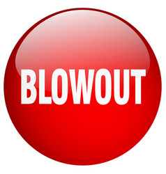 Blowout red round gel isolated push button vector