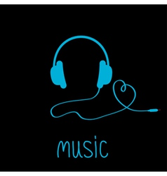Blue headphones with cord and word music vector