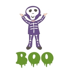 Boocard with a boy dressed like skeleton vector image