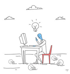 Business man working on computer with light bulb vector
