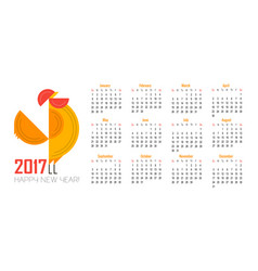 calendar for 2017 of red rooster symbol of 2017 vector image