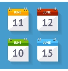 Calendar Icon Set Flat Design vector image