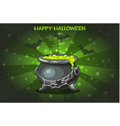 cartoon pot with magic potion set vector image