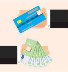 cash money euro banknotes and credit card vector image