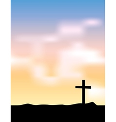 Christian cross silhouette at sunrise vector