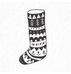 Christmas sock minimalist scandinavian style vector