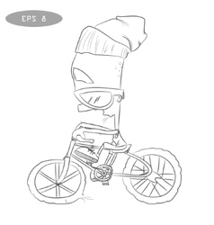 Cool cartoon cyclist on bike with glass2 vector image vector image