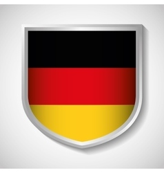 Flag shield icon black red yellow Germany vector image