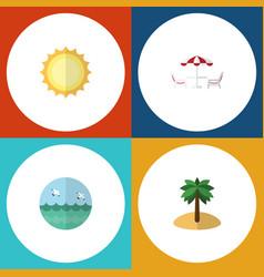 flat icon beach set of ocean recliner sunshine vector image