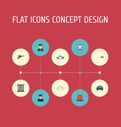 Flat icons bayonet thief signal and other vector