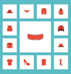 Flat icons casual waistcoat apparel and other vector