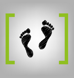 Foot prints sign black scribble icon in vector