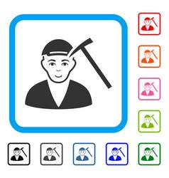 Hammer victim framed enjoy icon vector