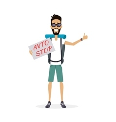 Hitch-hiking traveller character vector