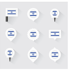 Israel flag and pins for infographic and map vector