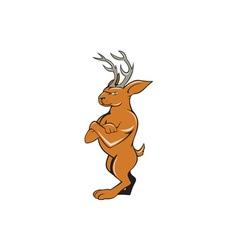 Jackalope arms crossed standing cartoon vector
