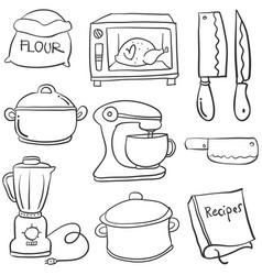 Kitchen set hand draw cartoon doodles vector